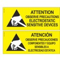 Desco 06750 Static Sensitive Area Warning Sign, (2-Sided Bilingual)