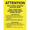 Desco 06741 Attention Foot/Wrist Ground Tester Sign, 17