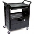 Rubbermaid 3457 Utility Cart with Lockable Doors, Sliding Drawer and 4