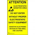 Botron B6717 Caution Self-Sticking ESD-Safe Area Poster, 5/pkg.