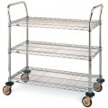 Metro MW708 Stainless Steel Utility Cart with Three Shelves, 21